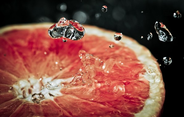 drops, grapefruit, macro, sprays, water