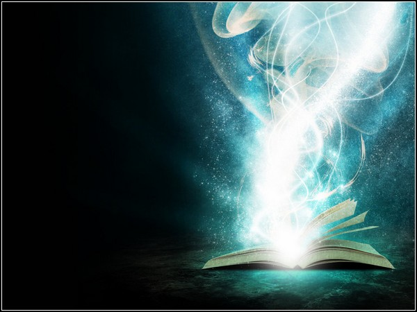 magic, book, light