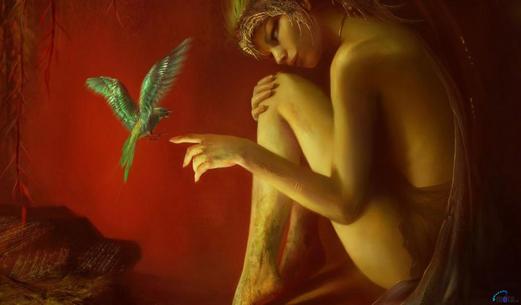 magic, fantasy, art, girl, bird