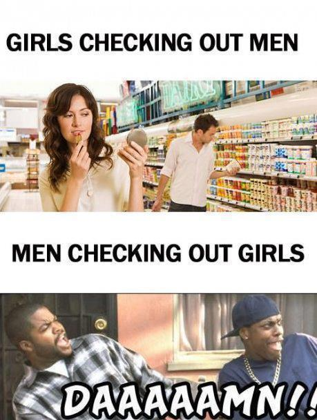 men, women, checking, look, damn