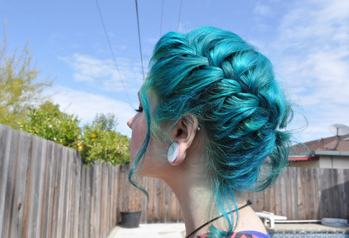 mermaid, hair, teal, braid, blue