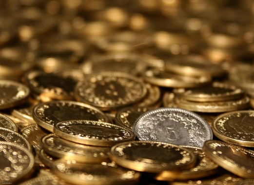 coins, gold, money, silver, yellow
