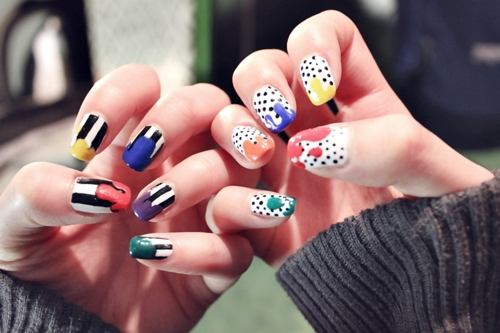 colorful, cool, dots, fun, nail art, nails, paint, splash
