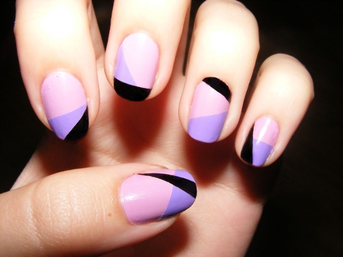 nails, purple, black, girly, cosmetics