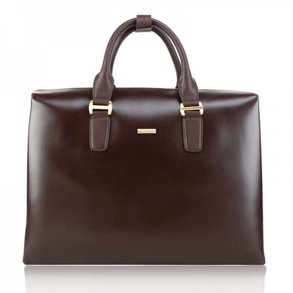 nappa brown leather business bag for briefcase and laptop