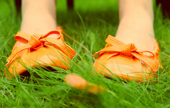 grass, leaves, nature, shoes