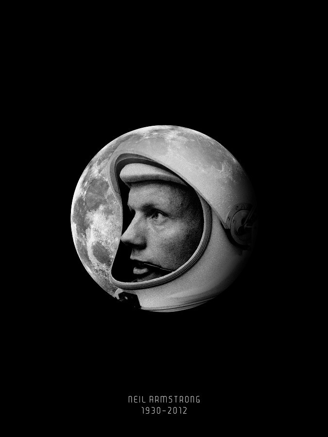 neil armstrong, poster, black and white