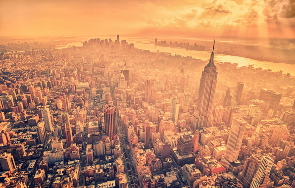 new york, sun, city