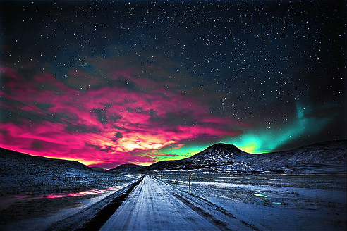 art, beautiful, cosmic, couple, cute, fashion, hair, northern lights, photography, pretty, roadway
