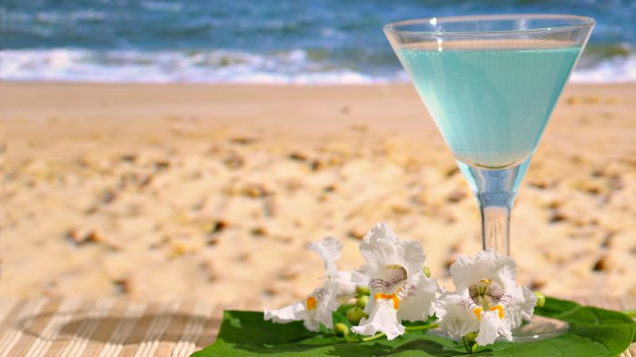 ocean, beach, glass, flowers