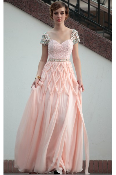orange pink cap-sleeve sweetheart chiffon evening ball dress s676