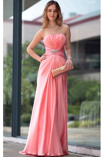 Orange pink strapless ruched satin a line bridesmaid prom for Pink and orange wedding dresses