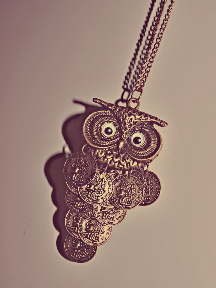 owl, coins, necklace