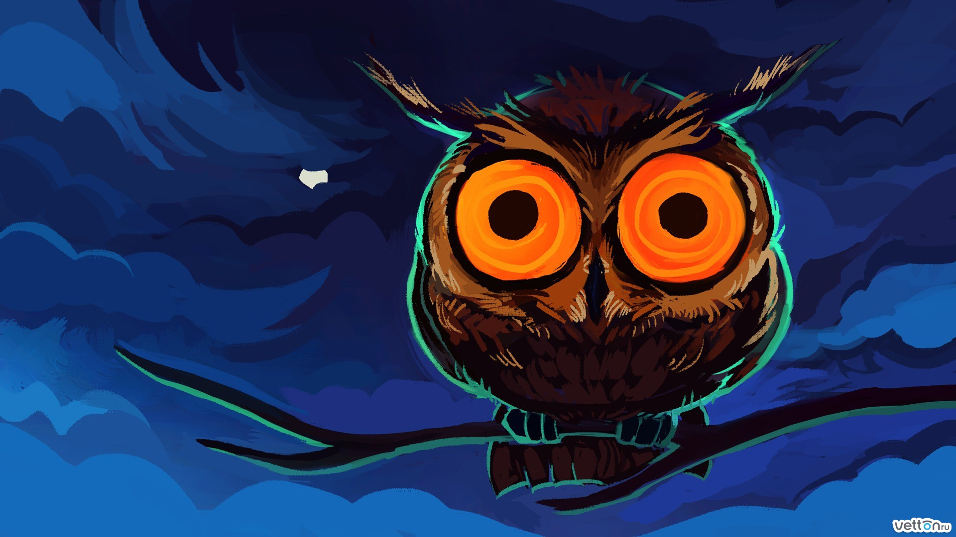owl, night, eyes