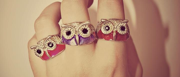 owl, rings, color, hand