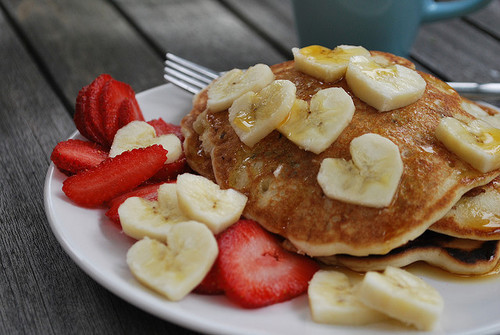 pancakes, pancake, banana, strawberries, food