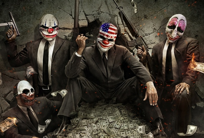 payday the heist, masks, clowns
