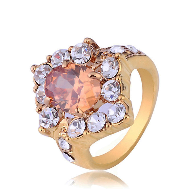 peach oval cz stone lozenge shape ring