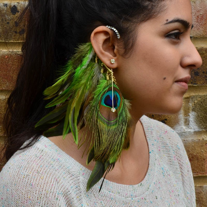 peacock feather earring cuff, gold ear cuff, fashuun village