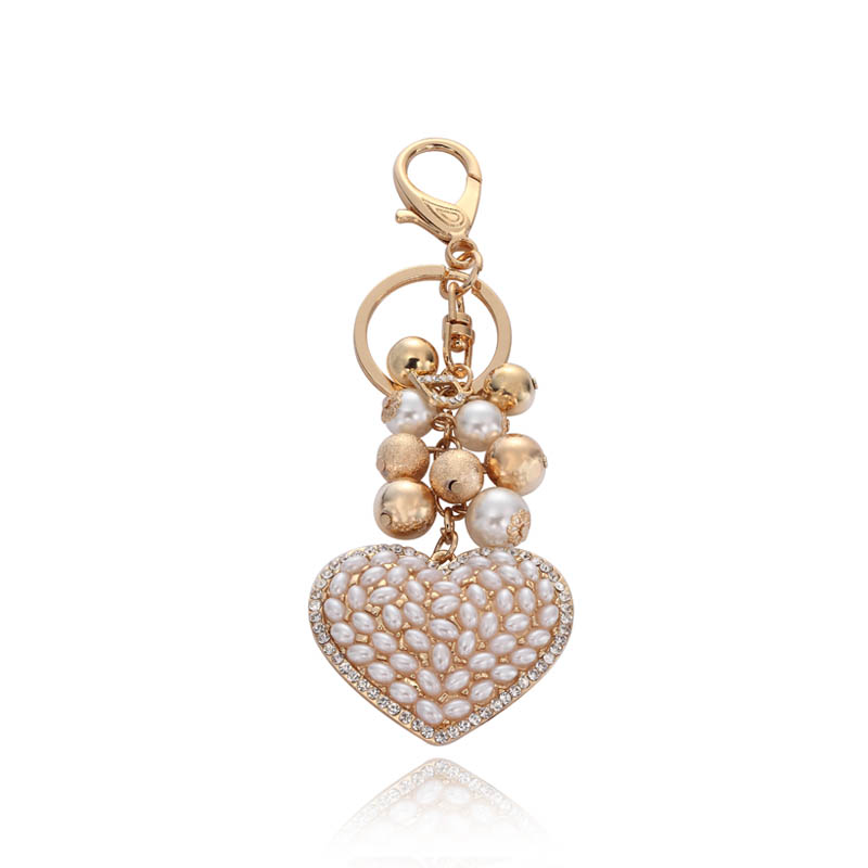 pearl heart key charm, pearl key ring, pearl key charm, cluster ball key ring, pearl charm jewelry