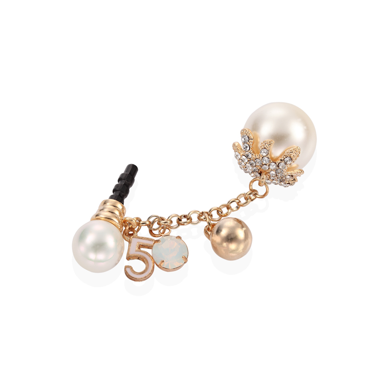 pearl-motif 3.5mm earphone anti dust plug charm