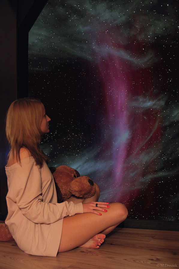galaxy, girl, photography, photomontage, photoshop, stars, teddy bear