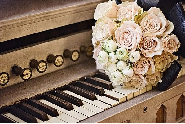piano, elgegant, roses, cute, photography