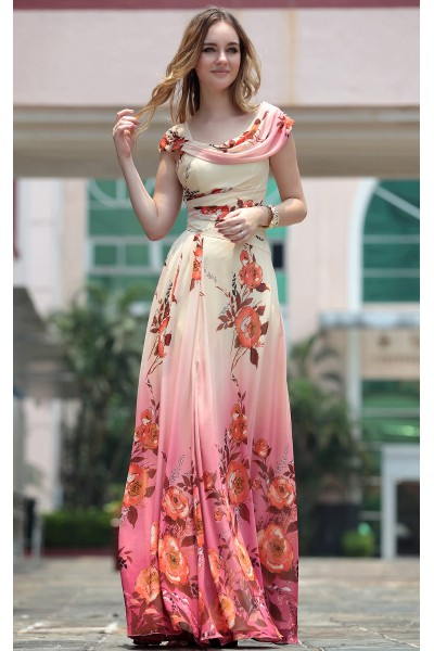 picture color cap-sleeve print chiffon prom evening dress s663