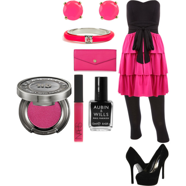 pink, black, set, fashion, cute
