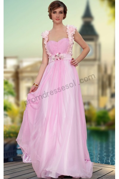 pink cap-sleeve handmade flowers sweetheart backless chiffon bridesmaid prom dress s630