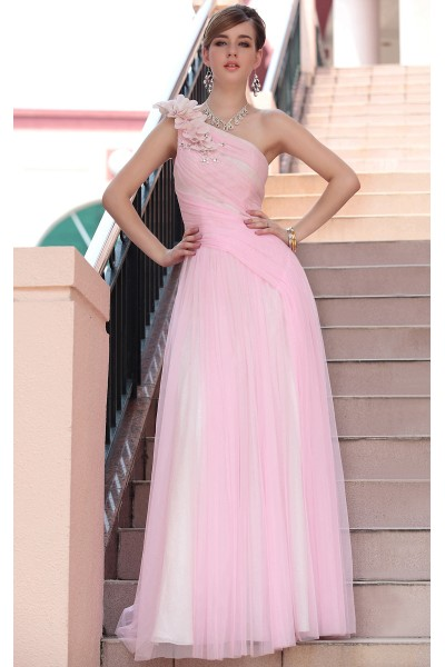 pink one-shoulder flowers organza bridesmaid evening dress s613