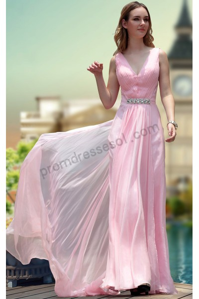 pink sleeveless v-neck ruched chiffon evening bridesmaid dress s672