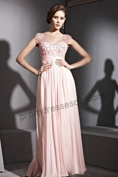pink v-neck cap-sleeve tencel formal ball gown by129