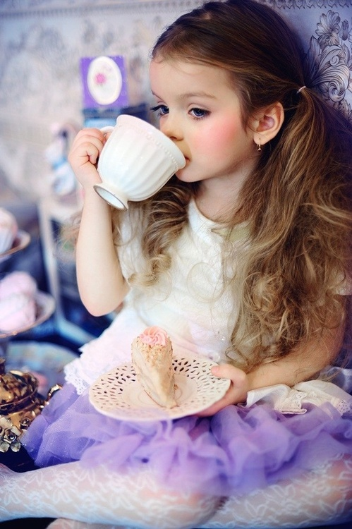 princess, tea, cup, child, girl