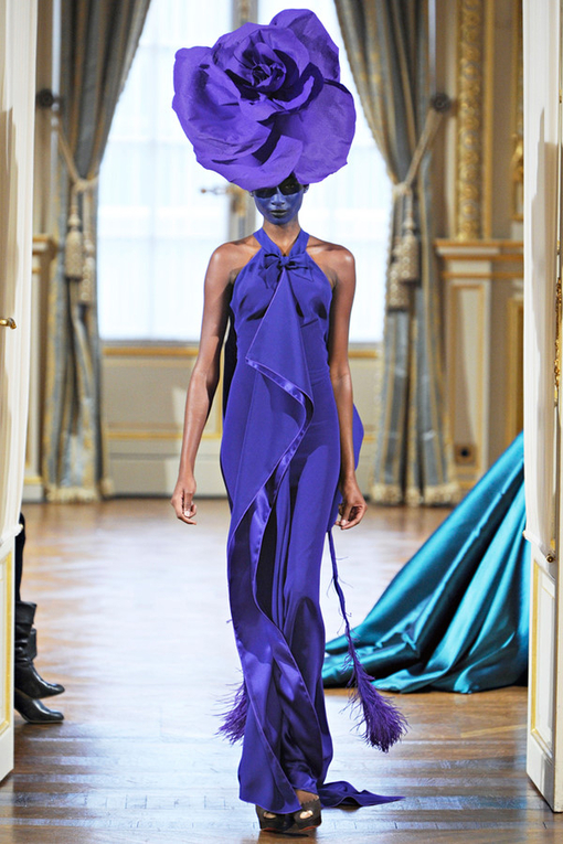 purple, fashion, dress, runway, couture