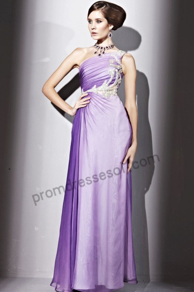 purple one-shoulder jewelry tencel a-line party ball dress by186