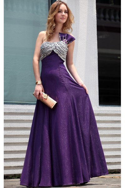 purple one-shoulder shot rayon evening party dress s631
