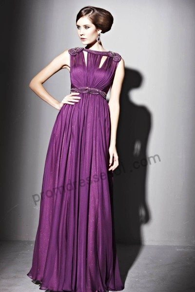 purple round neck sweetheart jewelry tencel a-line formal evening dress by155