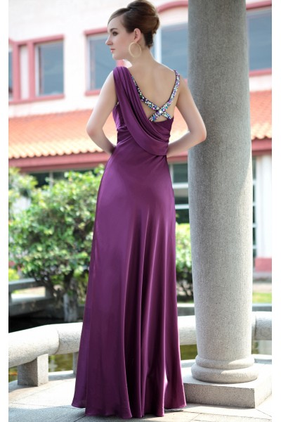 purple sleeveless lace ruched satin formal evening dress s655