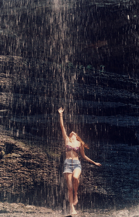 rain, girl, alone, shorts, nature