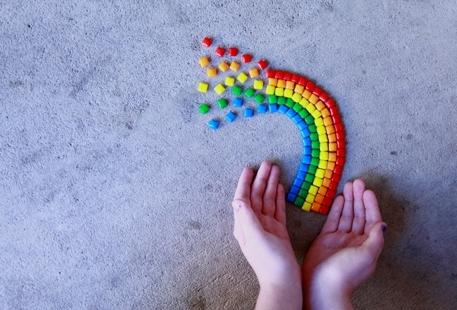 rainbow, close up, hands