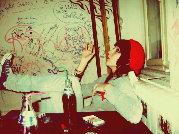 rebel, girl, smoke, drink