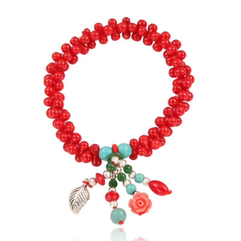red coral bracelet, dumbbell bracelet, charm bracelet, coral bracelet, stretch bracelet