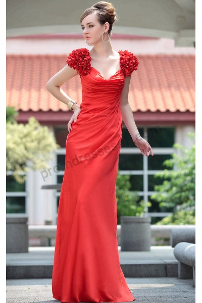 red flowers cap-sleeve backless satin evening party dress s628