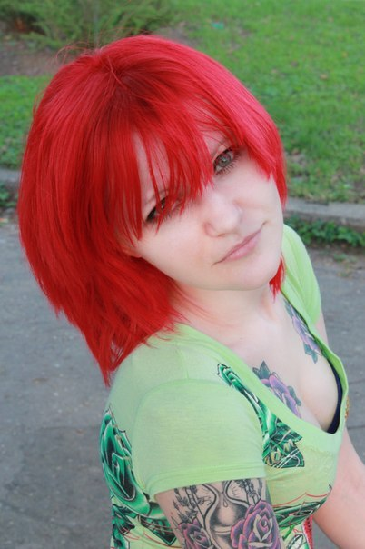 girl, old school, red hair, tattoo