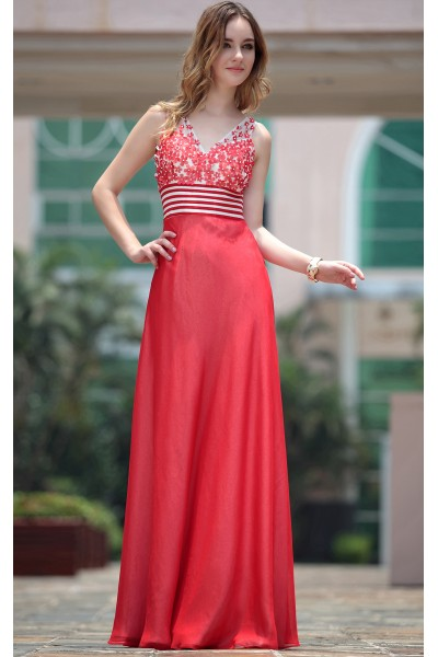 red sleeveless v-neck flowers art silk party prom gown s667