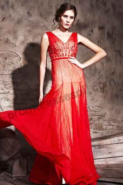 red v-neck sleeveless tencel floor-length evening ball dress by203