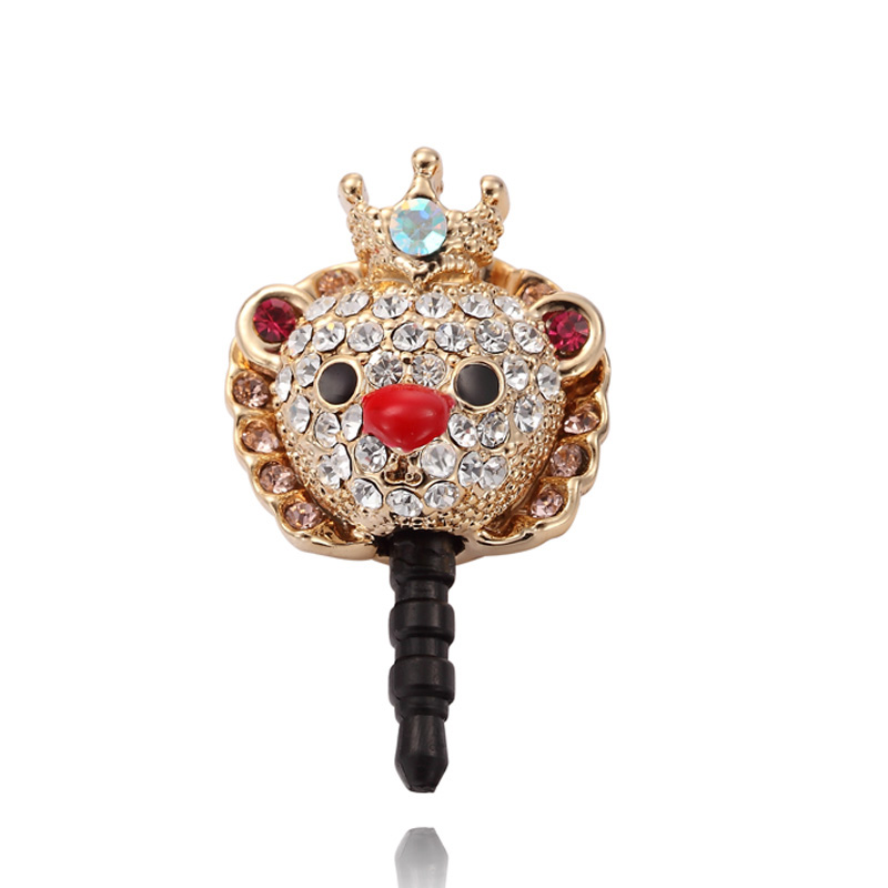 rhinestone lion king 3.5mm earphone dustproof plug stopper
