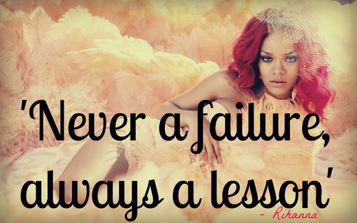 beautiful, failure, girl, lesson, quote, quotes, red hair, rihanna