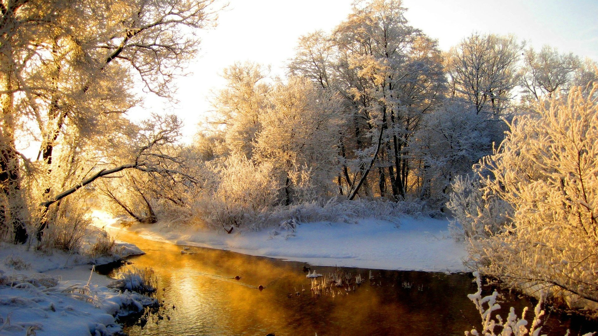 river, winter, snow, sunrise
